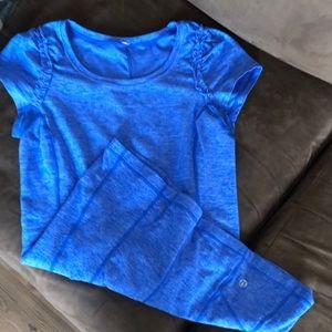 Lululemon blue short sleeve shirt